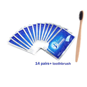 28Pcs/14Pair 3D Advanced Teeth Whitening Strips Stain Removal for Oral Hygiene Clean Double Elastic Dental Bleaching Strip