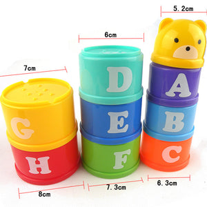 Double-sided 8PCS Educational Baby boy infant Toys 6Month+ Figures Letters Foldind Stack Cup Tower Children Early Intelligence