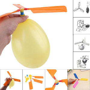 Balloon Helicopter Flying Toy Child Birthday Xmas Party Bag Stocking Filler Gift 2 x Colored Balloons 3 x Colored Rotors