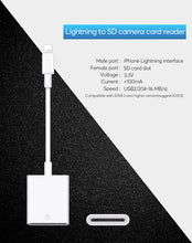 Load image into Gallery viewer, UTHAI C27 Card Reader for SD to Lightning Smart Camera SD Memory Card Adapter for iPhone iPod Apple Memory Cards Use No APP Need