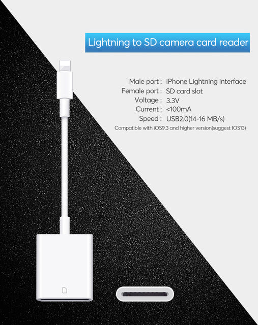 UTHAI C27 Card Reader for SD to Lightning Smart Camera SD Memory Card Adapter for iPhone iPod Apple Memory Cards Use No APP Need