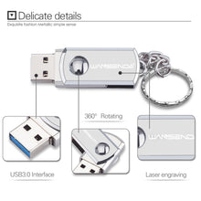 Load image into Gallery viewer, Stainless Steel USB 3.0 pen drive 256gb 128gb usb flash drive 16gb 32gb 64gb pendrive usb stick with keychain Flash Drive