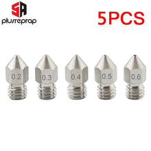 Load image into Gallery viewer, 5PCS MK8 Nozzle 0.2mm 0.3mm 0.4mm 0.5mm 0.6mm M6 Threaded Stainless Steel for 1.75mm Filament 3D Printer Extruder Print Head