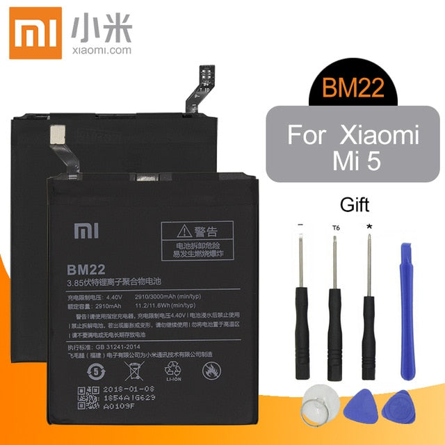 Xiaomi Original Phone Battery BM22 For Xiaomi MI 5 5X Mi 4C Mi 6 Mi 8 For Redmi Note 5A 5A Pro BM35 BM39 BN31 BM3E Batteries