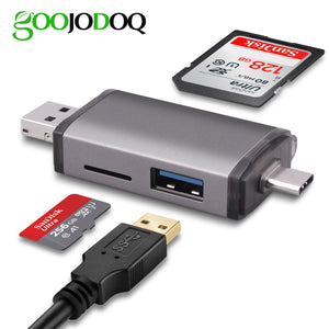 GOOJODOQ Card Reader Micro USB 2.0 Type C to SD Micro SD TF Adapter Accessories OTG Cardreader Smart Memory SD Card Reader