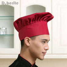 Load image into Gallery viewer, 1pc Cooking Adjustable Chef Hat Men Kitchen Baker Elastic Hat Catering Cooking Cap Striped Plain Hats Working Cap DAJ9025