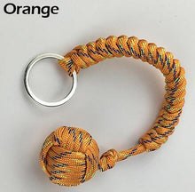 Load image into Gallery viewer, Outdoor Security Protection Black Monkey Fist Steel Ball For Girl Bearing Self Defense Lanyard Survival Key Chain Broken Windows