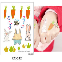 Load image into Gallery viewer, glaryyears 20 Designs 1 Sheet Children Animal Tattoo EC Temporary Cute Cartoon Fox Raccoon Image Tattoo Sticker for Body Art New