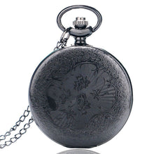 Load image into Gallery viewer, Antique Style Roman Numerals Pocket Watch Men Women Black Hollow Case Quartz Steampunk Vintage Pendant Necklace Gift cep saati