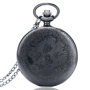 Antique Style Roman Numerals Pocket Watch Men Women Black Hollow Case Quartz Steampunk Vintage Pendant Necklace Gift cep saati