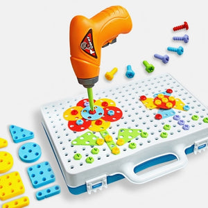 Children Toys Drill Puzzle Educational Toys DIY Screw Group Toys KidsTool Kit Plastic Boy Jigsaw Mosaic Design Building Toy