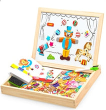 Load image into Gallery viewer, 100+PCS Wooden Magnetic Puzzle Figure/Animals/ Vehicle /Circus Drawing Board 5 styles Box Educational Toy Gift
