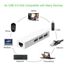 Load image into Gallery viewer, USB Ethernet with 3 Port USB HUB 2.0 RJ45 Lan Network Card USB to Ethernet Adapter for Mac iOS Android PC  RTL8152 USB 2.0 HUB