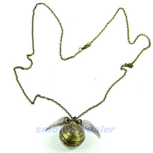 Antique Vintage Spider Web Ball Wing Necklace Pendant Quartz Pocket Watch Gift
