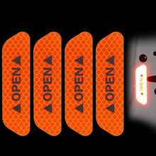 Load image into Gallery viewer, 4pcs Car door safety anti-collision warning reflective stickers OPEN stickers long-distance reflective paper decorative stickers