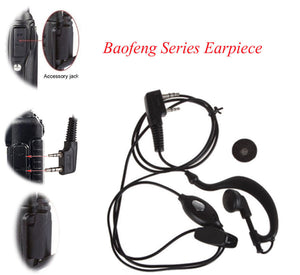 2 PIN Earpiece Headset PTT with Microphone Walkie Talkie Ear Hook Interphone Earphone for BAOFENG UV5R Plus BF-888S UM