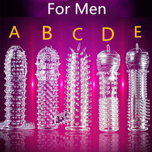 Load image into Gallery viewer, 5 Models Delay Crystal Penis Sleeve Textured Extension Reusable penis for Couple ring Sex Products Adult Sex Toys for Men