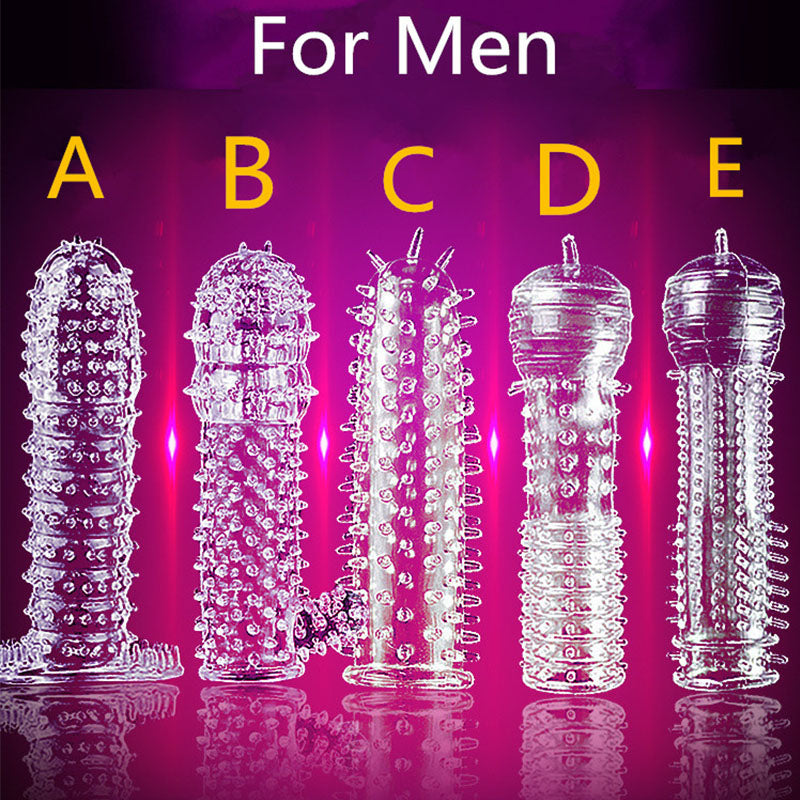 5 Models Delay Crystal Penis Sleeve Textured Extension Reusable penis for Couple ring Sex Products Adult Sex Toys for Men