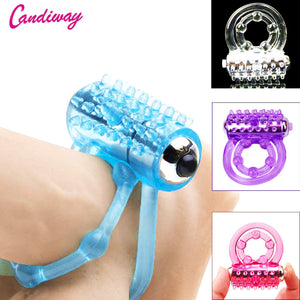 CandiWay mini Vibrators rings double cockring Delay Premature Ejaculation penis ball loop lock Sex Toys product for Men