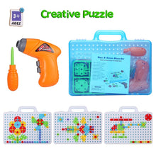 Load image into Gallery viewer, Children Toys Drill Puzzle Educational Toys DIY Screw Group Toys KidsTool Kit Plastic Boy Jigsaw Mosaic Design Building Toy
