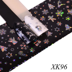 Full Beauty 100x4cm Xmas Pattern for Nail Sticker 3D Snowflake Star Laser Glitter Christmas Nail Art Transfer Foils CHXK94-97