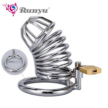 Load image into Gallery viewer, RunYu 40/45/50mm Lockable Penis Lock Stainless Steel Cock Cage Penis Metal Ring Chastity Device Tool Sex Toys for Men