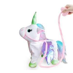 35cm Electric Walking Unicorn Plush Toy Stuffed Animal Toy Electronic Music Unicorn Toy for Children Christmas Gifts 2018 Hot