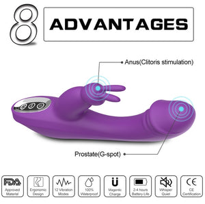 G spot Rabbit Vibrator Rechargeable Waterproof Dildo Vibe Dual Motor Clit Stimulator with 12 Vibration Modes Quiet Sex Toy
