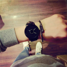 Load image into Gallery viewer, Hot fashion creative watches women men quartz-watch BGG brand unique dial design minimalist lovers' watch leather wristwatches