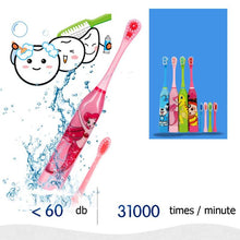 Load image into Gallery viewer, Children Electric Toothbrush Cartoon Pattern Double-sided Tooth Brush Electric Teeth Brush For Kids with 2pcs Replacement Head