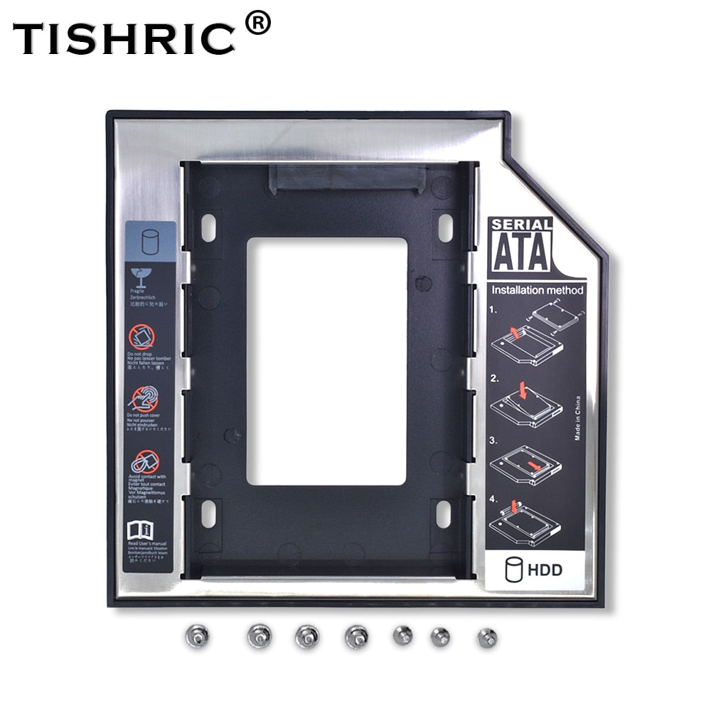 Tishric Optibay 2nd HDD Caddy 9.5mm Aluminum Universal SATA 3.0  2.5
