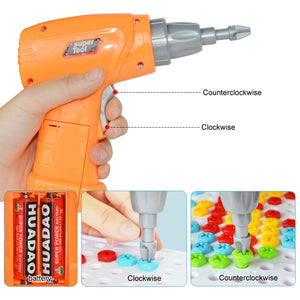 Creative Kids Electric Drill Nut Assembled Match Tool DIY Model Kit Building Educational Blocks Sets Toys For Boys Children Gift