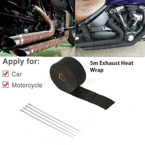 Universal MOTORCYCLE Incombustible Turbo MANIFOLD HEAT EXHAUST THERMAL WRAP TAPE STAINLESS TIES 1.5mm*25mm*5m