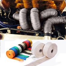 Load image into Gallery viewer, Universal MOTORCYCLE Incombustible Turbo MANIFOLD HEAT EXHAUST THERMAL WRAP TAPE STAINLESS TIES 1.5mm*25mm*5m