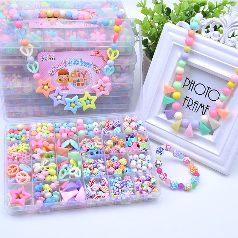 500-580Pcs with Box & Tool  Diy Hands-on Ability Child Beads Toys Educational Toy Gifts for Girls