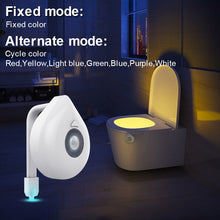 Load image into Gallery viewer, Goodland LED Toilet Light PIR Motion Sensor Night Lamp 8 Colors Backlight WC Toilet Bowl Seat Bathroom Night light for Children