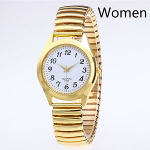 Fashion Business Women Men Elastic Gold Sliver Quartz Watch Tide Lovers Couple Party Office OL Bracelet Watches Gift