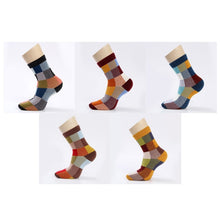 Load image into Gallery viewer, 5 Pairs/Lot Combed Cotton Men's Socks Compression Socks Fashion Colorful Square Happy Dress Socks Men Size 39-45