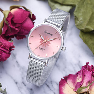 Women's Wristwatches Luxury Silver Popular Pink Dial Flowers Metal Ladies Bracelet Quartz Clock Fashion Wrist Watch 2019 Top