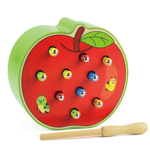 Baby Wooden Toys 3D Puzzle Early Childhood Educational Toys Catch Worm Game Color Cognitive Magnetic Strawberry Apple