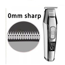 Load image into Gallery viewer, Kemei Barber Professional Hair Clipper LCD Display 0mm Baldheaded Beard Hair Trimmer for Men DIY Cutter Electric Haircut Machine