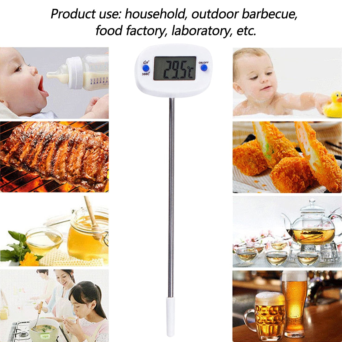 Kitchen BBQ Digital Probe Electronic Thermometer Cooking Food Thermometer US