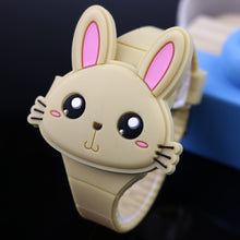 Load image into Gallery viewer, Lovely Rabbit Cartoon Children Watches Flip Cover Rubber Electronic Kids Watch for Boy Student Girls Clock Reloj Infantil Saati