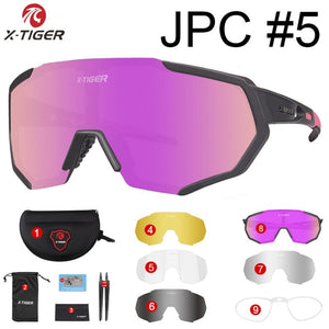 X-TIGER 2019 Polarized 5 Lens Cycling Glasses Road Bike Cycling Eyewear Cycling Sunglasses MTB Mountain Bicycle Cycling Goggles