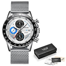 Load image into Gallery viewer, LIGE Fashion Men Watches Male Creative Business Chronograph Quartz Clock Stainless Steel Waterproof Watch Men Relogio Masculino