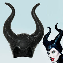Load image into Gallery viewer, Maleficent Horns Cosplay Mask Headgear Black Queen Helmet Cap Headpiece Halloween Masquerade Party Props