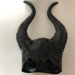 Maleficent Horns Cosplay Mask Headgear Black Queen Helmet Cap Headpiece Halloween Masquerade Party Props