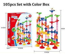 Load image into Gallery viewer, 29/80/105pcs Set DIY Construction Marble Race Run Track Building Blocks Kids Maze Ball Roll Toys Christmas Gift