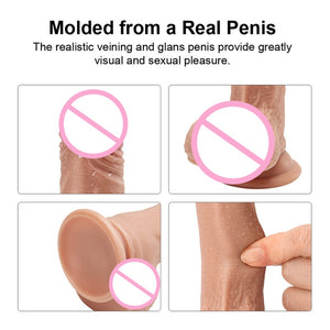 4 Size Flesh Realistic Dildo for Women TPE Eco-friendly Penis with Suction Cup Adult Sex Vibrator Toys Anal Pussy Pump