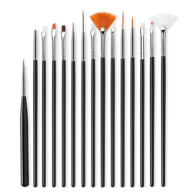 ROHWXY Nail Brush For Manicure Gel Brush For Nail Art 15Pcs/Set Ombre Brush For Gradient For Gel Nail Polish Painting Drawing